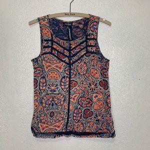 Lucky Brand Boho print tank w/ blue lace cut outs